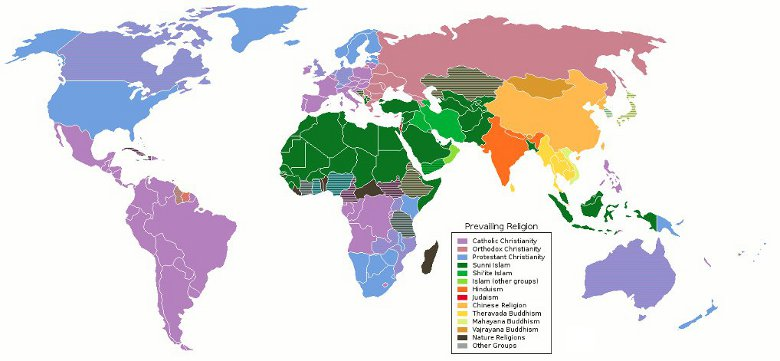 Map of the Prevailing World Religions