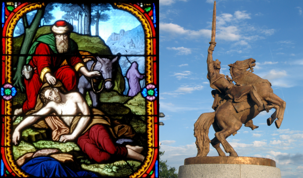 A stained-glass rendering of the Parable of the Good Samaritan and a statue of a sword-wielding king.