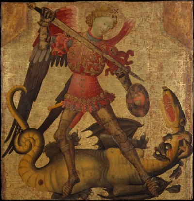 Spanish (Valencian) tempera on wood painting of Michael slaying the dragon, ca 1405, artist unknown.