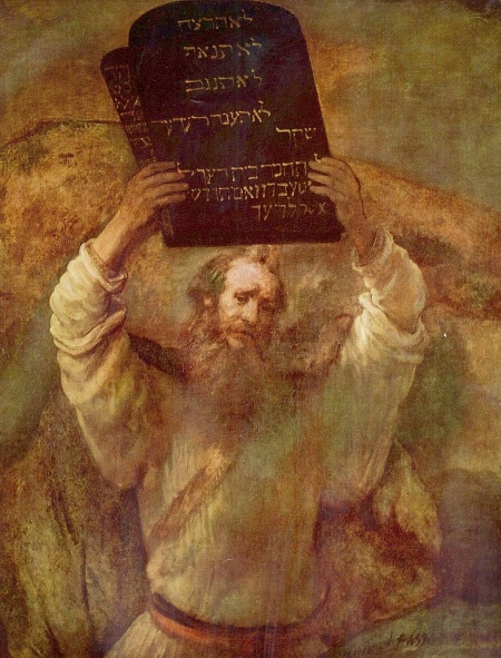 The painting, Moses with the Tablets of the Law by Rembrandt.