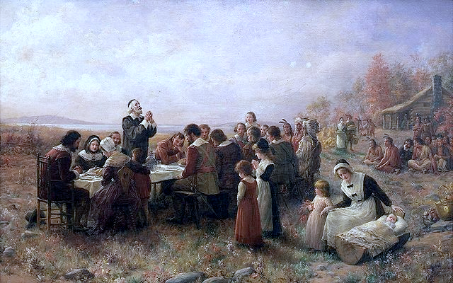 A painting depicting The First Thanksgiving at Plymouth by Jennie A. Brownscombe (1914)