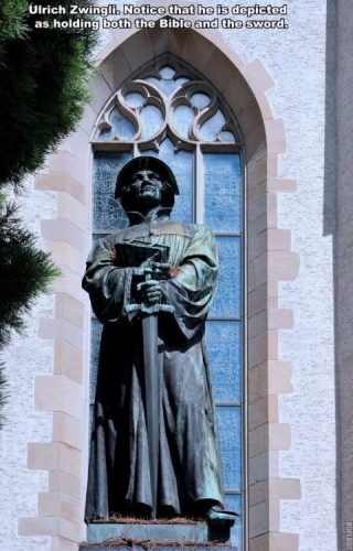 A picture of a statue of Ulrich Zwingli. He is shown holding both the Bible and a sword.