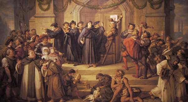 Painting of Luther nailing the 95 theses, by Julius Hübner, 1878.