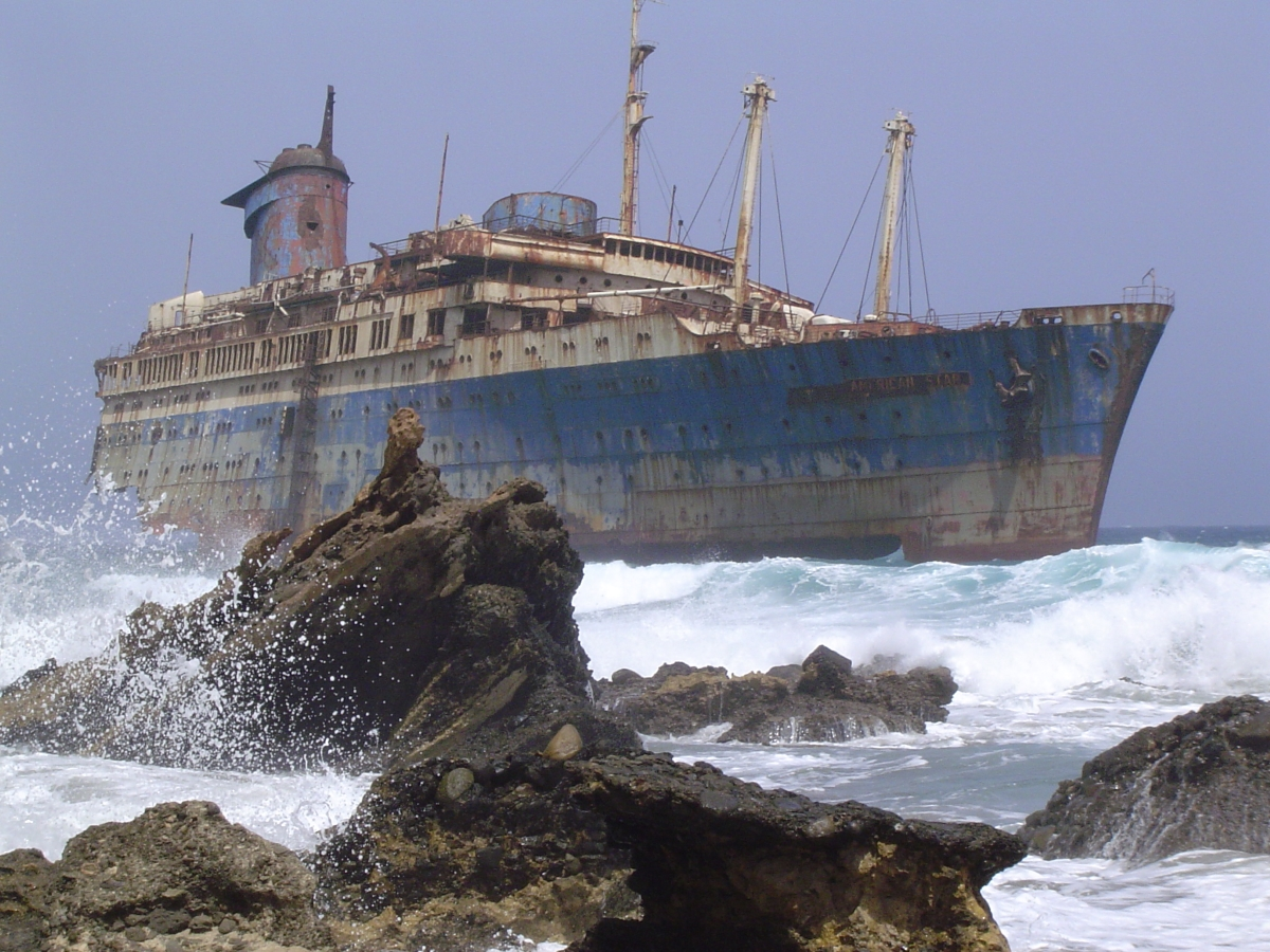 The wreck of the SS American Star (originally named the SS America) on Fuerteventura in the Canary Islands.