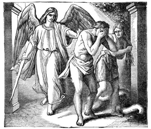 A black and white image of the angel with the flaming sword expelling Adam and Eve from the Garden of Eden.