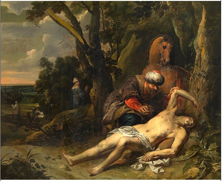 A painting titled The Good Samaritan painted by Balthasar van Cortbemde (1612–1663) in 1647. It shows a man in Middle Eastern attire bending down to help a near-naked man who appears to be on the point of death.