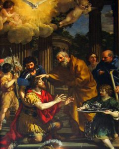The painting of Ananias Restoring the Sight of St. Paul (c.1631) by Pietro da Cortona pictures Ananias standing over the kneeling Paul as he puts his hand on Paul's head. Paul's eyes are still closed at this moment.