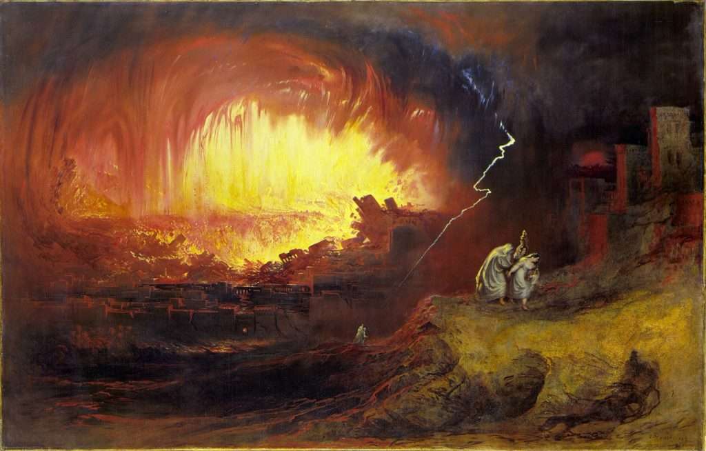 God's Wrath is exemplified by The Destruction Of Sodom And Gomorrah. Painting by John Martin, 1852.
