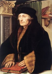 Portrait of Erasmus of Rotterdam, 1523. Oil and tempera on wood, National Gallery, London, on loan from Longford Castle. By Hans Holbein the Younger in 1523.