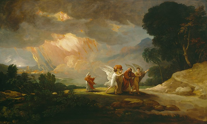 What is God doing in this trouble? This painting of Lot Fleeing from Sodom by Benjamin West shows that God causes calamity.