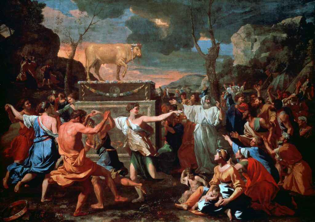 Looking at 2020 in hindsight reveals apostasy in American Christianity. This picture shows the Adoration of the Golden Calf, oil on canvas by Nicolas Poussin, c. 1634. The worship of the golden calf was an apostasy.
